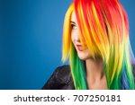 beautiful woman wearing color...   Shutterstock . vector #707250181