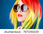 beautiful woman wearing color... | Shutterstock . vector #707250235