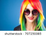 beautiful woman wearing color... | Shutterstock . vector #707250385