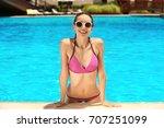 beautiful young woman in... | Shutterstock . vector #707251099