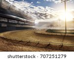 Stock photo empty race track with stadium lights d rendering 707251279