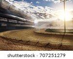 Empty Race Track With Stadium...