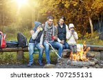 camping  travel  tourism and... | Shutterstock . vector #707255131