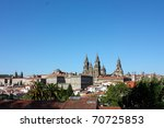 Panoramic of Santiago de Compostela, the reputed burial-place of Saint James the Greater, one of the apostles of Christ. It is the destination of the Way of St. James. Spain.