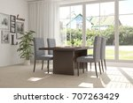 white dinner room with green... | Shutterstock . vector #707263429