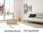 idea of white minimalist room... | Shutterstock . vector #707263459
