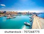 view of heraklion harbour from... | Shutterstock . vector #707268775