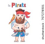 Cute Pirate With Parrot On...