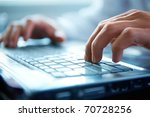 close up of typing male hands | Shutterstock . vector #70728256