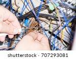 engineer hands installing... | Shutterstock . vector #707293081