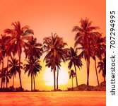 palm trees on a beautiful beach ... | Shutterstock . vector #707294995