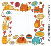 cute doodle cats  kitty... | Shutterstock .eps vector #707295499
