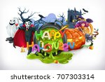 happy halloween. pumpkin  cat ... | Shutterstock .eps vector #707303314