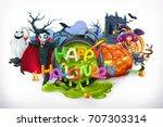 happy halloween. pumpkin  cat ... | Shutterstock .eps vector #707303314