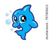 baby dolphin character logo. ... | Shutterstock .eps vector #707303611