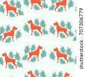 seamless pattern. hunter dog in ...   Shutterstock .eps vector #707306779
