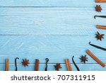 frame of vanilla sticks ... | Shutterstock . vector #707311915