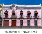 facade of a beautiful pink... | Shutterstock . vector #707317765