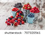 berries mix blueberry ... | Shutterstock . vector #707320561