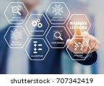 presentation about machine... | Shutterstock . vector #707342419