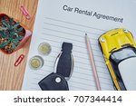 car rental agreement paper with ... | Shutterstock . vector #707344414