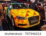 Small photo of SAO PAULO, BRAZIL - NOV 10, 2016: Auto Showroom Cars on Brazil Salão do Automovel SDA2016 Audi A3 Sedan Senna