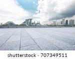 empty marble floor and... | Shutterstock . vector #707349511