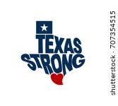 texas strong map logo flat... | Shutterstock .eps vector #707354515