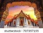 marble temple in bangkok ... | Shutterstock . vector #707357155