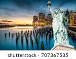 the statue of liberty with... | Shutterstock . vector #707367535