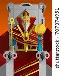 tarot card the emperor | Shutterstock .eps vector #707374951