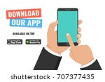 download page of the mobile app.... | Shutterstock .eps vector #707377435