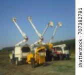 blurred image of bucket trucks...   Shutterstock . vector #707382781