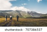 hiking team goes to mount... | Shutterstock . vector #707386537
