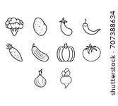 vegetables icon set | Shutterstock .eps vector #707388634