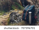 hipster blue backpack  thermos... | Shutterstock . vector #707396701