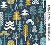 winter snowy woods seamless...   Shutterstock .eps vector #707399005