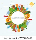 san francisco skyline with... | Shutterstock .eps vector #707400661