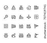 toys icon set in outline style...