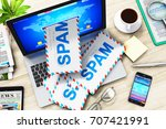 e mail  spam and junk mail... | Shutterstock . vector #707421991
