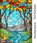 illustration in stained glass... | Shutterstock .eps vector #707424364