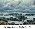 turbulent waves of pacific... | Shutterstock . vector #707426101