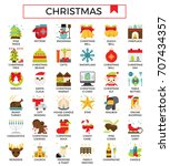 christmas icons with flat...   Shutterstock .eps vector #707434357