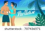 beach   palms man and woman... | Shutterstock .eps vector #707436571