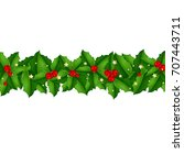 xmas border with holly berry ... | Shutterstock .eps vector #707443711