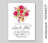 burgundy flower peony  anemone  ... | Shutterstock .eps vector #707445277