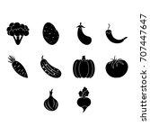vegetables icon set   Shutterstock .eps vector #707447647