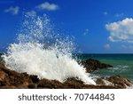Large Ocean Waves Breaking On A ...