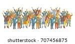 horizontal big group happy... | Shutterstock .eps vector #707456875