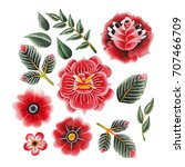 watercolor floral collection... | Shutterstock . vector #707466709